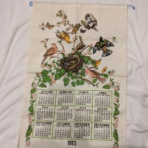 Vintage 1983 wall calendar fabric tapestry birds
